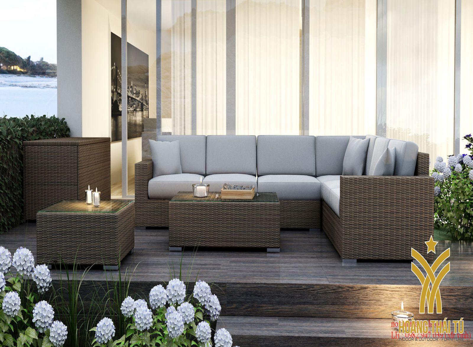 bộ sofa đan nhựa giả mây